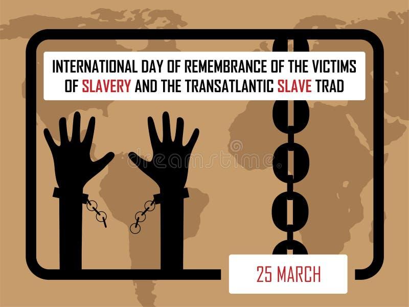 Internationell dag av minnet av offren av slaveri och den transatlantiska slav- handeln royaltyfri illustrationer