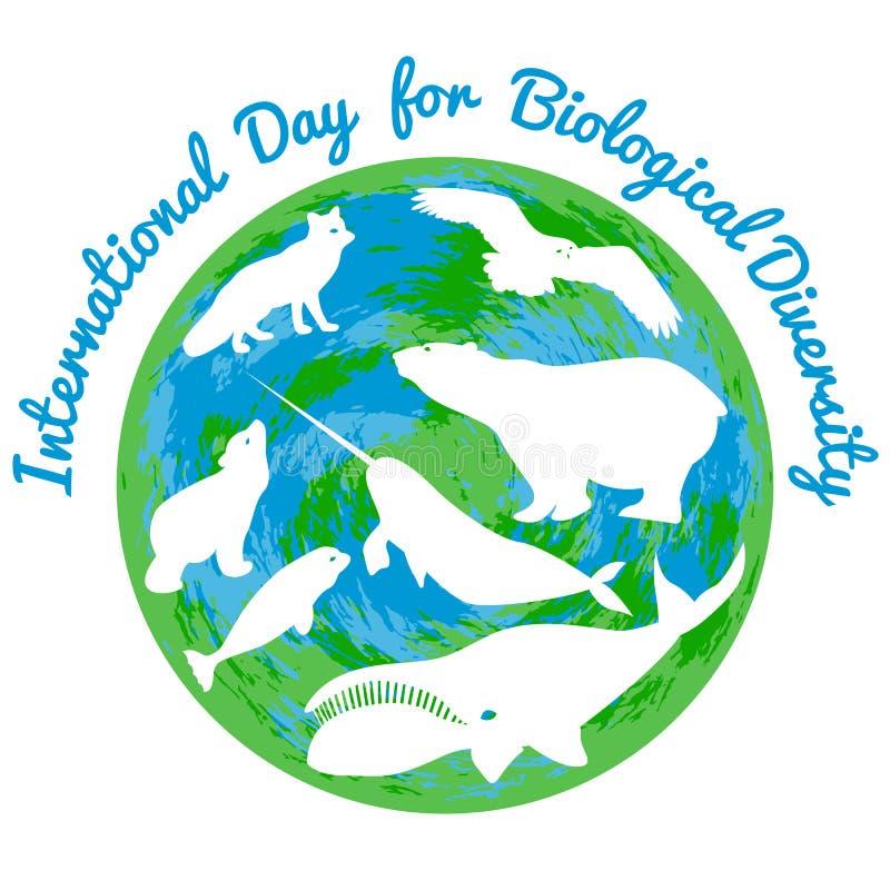 Internationell dag för biologisk mångfald E stock illustrationer