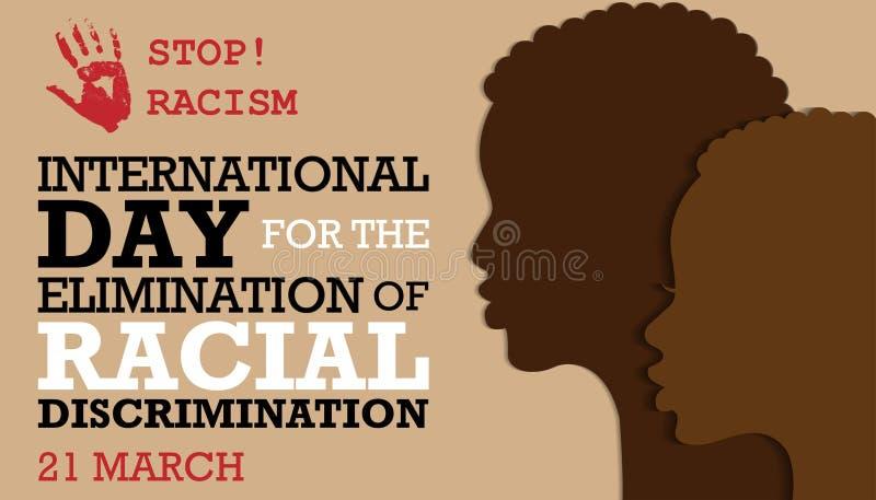 Internationell dag för elimineringen av rasdiskriminering vektor illustrationer