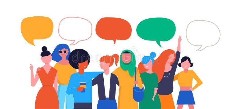 Internationell dag för kvinnor s Vektorillustration, kort, affisch, reklamblad och baner stock illustrationer