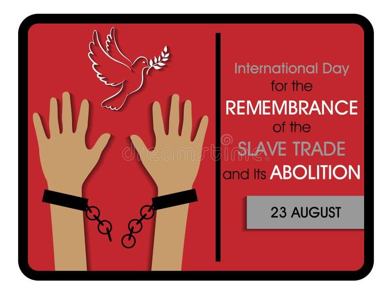 Internationell dag för minnet av den slav- Trade och dess avskaffande stock illustrationer