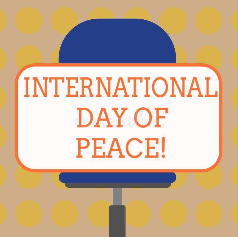 Internationell dag för ordhandstiltext av fred Affärsidé för världsomspännande fridsamt mellanrum för berömhoppfrihet stock illustrationer
