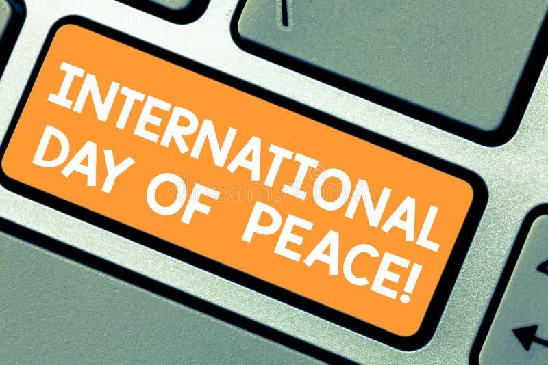 Internationell dag för ordhandstiltext av fred E vektor illustrationer