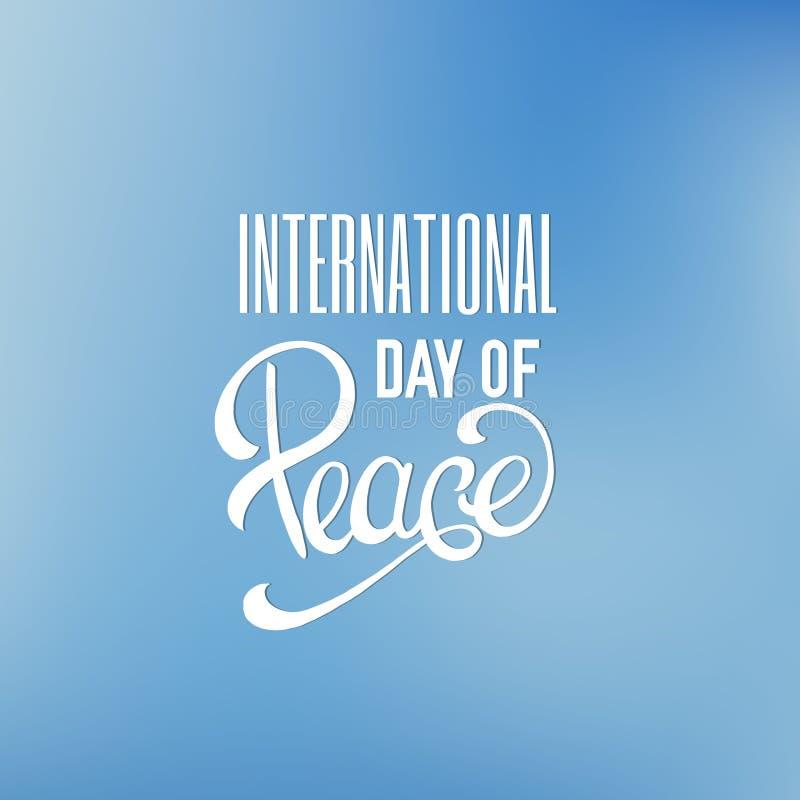 Internationell dag för vektor av fred Typografisk bakgrund för citationstecken stock illustrationer