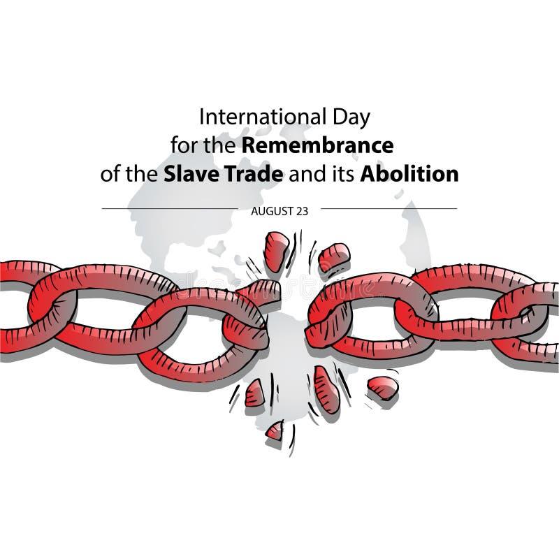 Internationell dag f?r minnet av den slav- Trade och dess avskaffande royaltyfri illustrationer