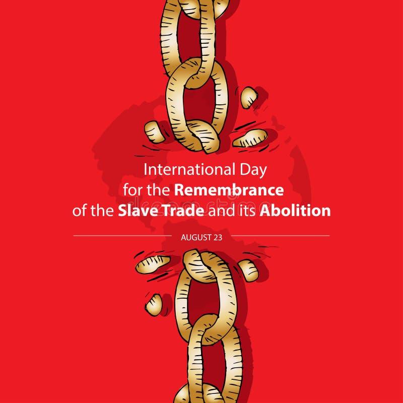 Internationell dag f?r minnet av den slav- Trade och dess avskaffande vektor illustrationer