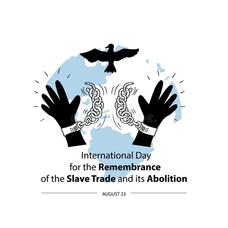 Internationell dag f?r minnet av den slav- Trade och dess avskaffande stock illustrationer