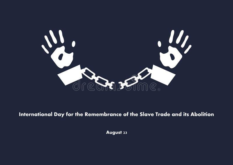 Internationell dag f?r minnet av den slav- Trade och dess avskaffandevektor royaltyfri illustrationer