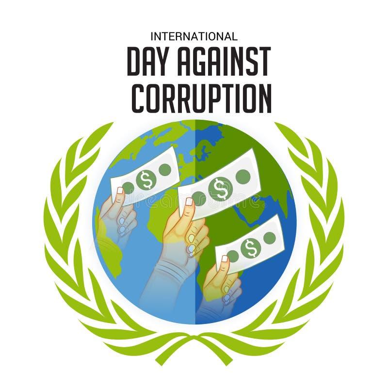 Internationell dag mot korruption royaltyfri illustrationer