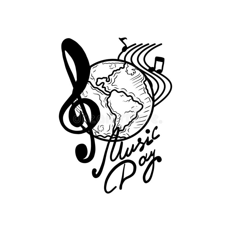 Internationell för dagbegrepp för levande musik bakgrund, hand dragen stil stock illustrationer