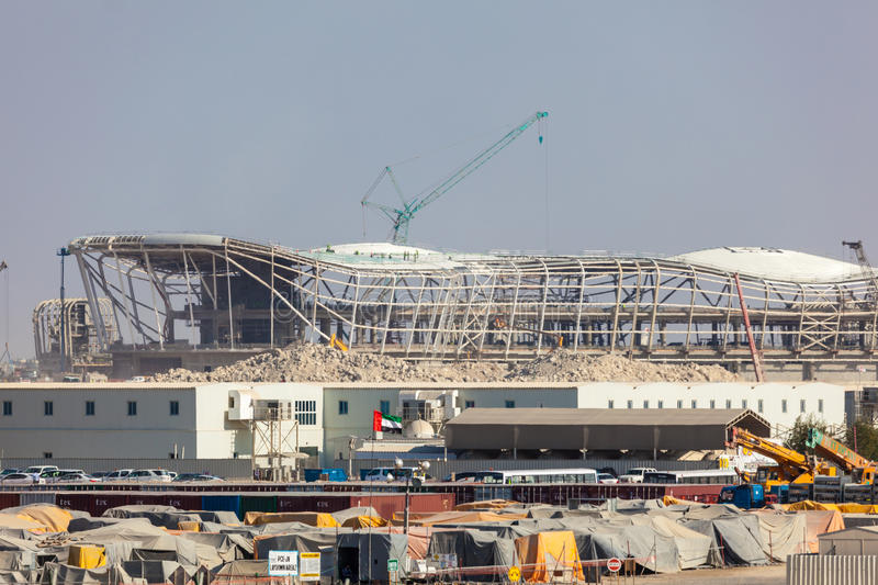 Internationell flygplats i Abu Dhabi Construction Site royaltyfria bilder