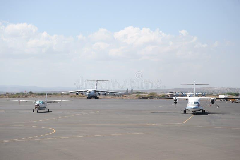 Internationell flygplats i den från Djibouti staden. royaltyfri foto