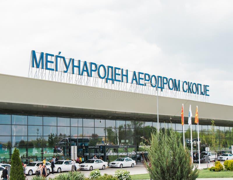 Internationell flygplats Skopje arkivbilder