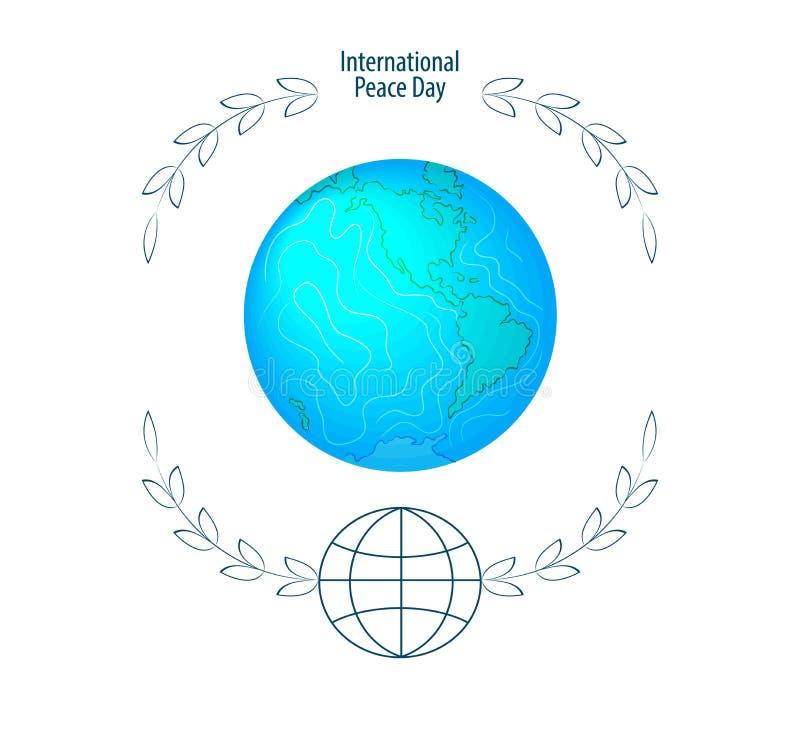 Internationell freddag September 21st bakgrundsmall f?r affisch eller banerdesign Fridsam planetjord i en rund ramnolla vektor illustrationer