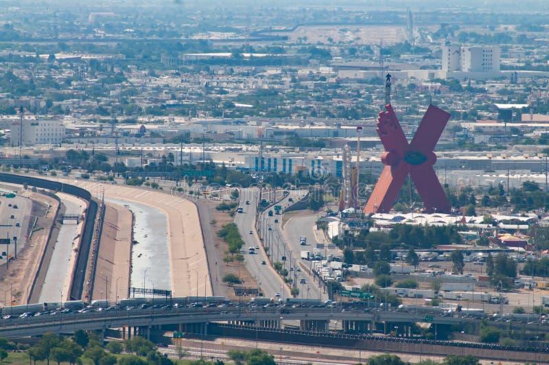 Internationell gräns i El Paso arkivfoton