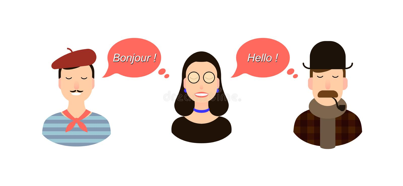 Internationell illustration för kommunikationsöversättningsbegrepp turister eller affärsmän eller politiker från Frankrike eller vektor illustrationer