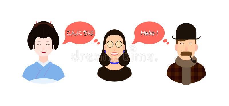 Internationell illustration för kommunikationsöversättningsbegrepp turister eller affärsmän eller politiker från Japan och stock illustrationer
