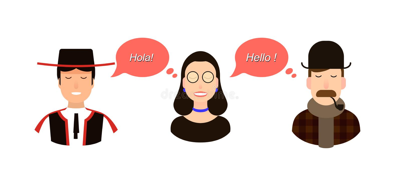 Internationell illustration för kommunikationsöversättningsbegrepp turister eller affärsmän eller politiker från Spanien eller stock illustrationer