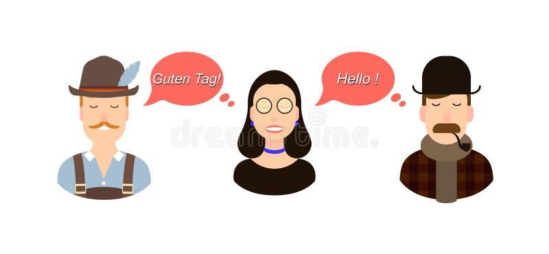 Internationell illustration för kommunikationsöversättningsbegrepp turister eller affärsmän eller politiker från Tyskland eller stock illustrationer