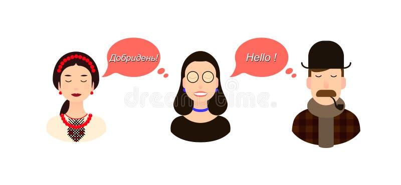 Internationell illustration för kommunikationsöversättningsbegrepp turister eller affärsmän eller politiker från Ukraina och stock illustrationer