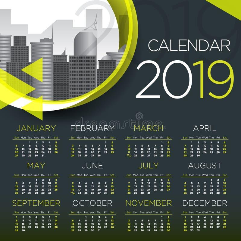 Internationell kalender för affär 2019 - vektormall stock illustrationer
