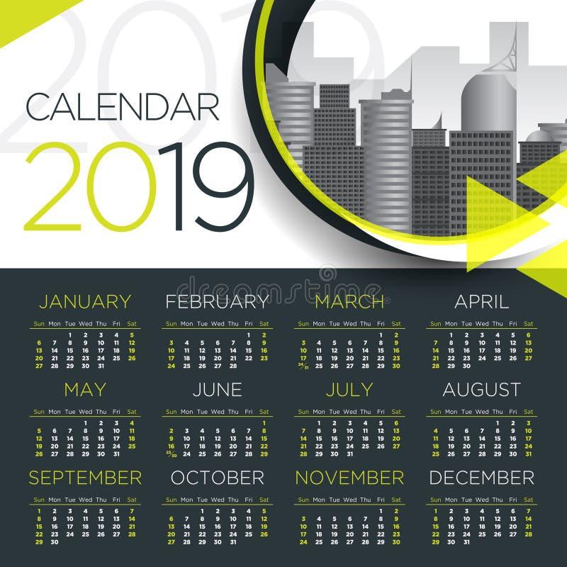 Internationell kalender för affär 2019 - vektormall royaltyfri illustrationer