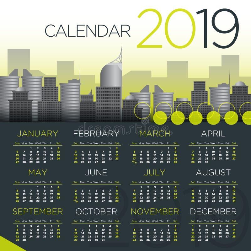 Internationell kalender för affär 2019 - vektormall vektor illustrationer