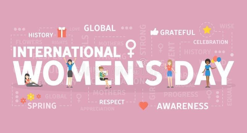 Internationell kvinnas dag royaltyfri illustrationer