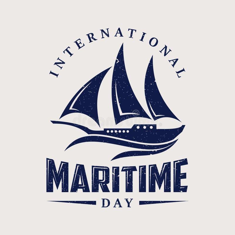 Internationell maritim dag med segelbåten i plan stil royaltyfri illustrationer