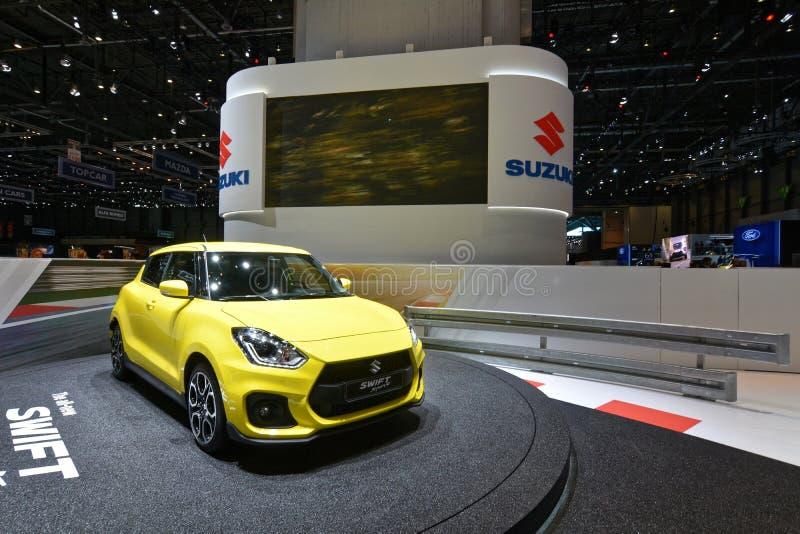 internationell motorisk show 2018 för 88th Genève - Suzuki Swift royaltyfria bilder