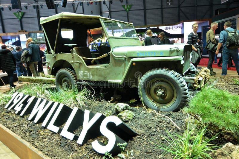 internationell motorisk show för 88th Genève 2018 - Willys 1941 arkivbilder