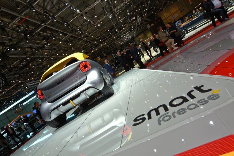 internationell motorshow för 89th Genève - Smart Forease+ begrepp royaltyfri fotografi