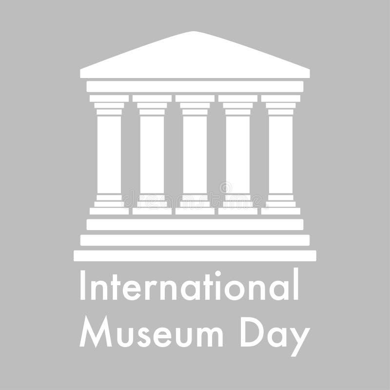 internationell museumdaglogo i plan design stock illustrationer