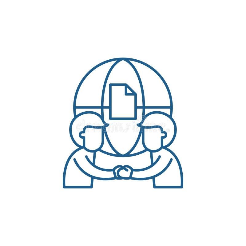 Internationell partnerskaplinje symbolsbegrepp Plant vektorsymbol för internationellt partnerskap, tecken, översiktsillustration stock illustrationer