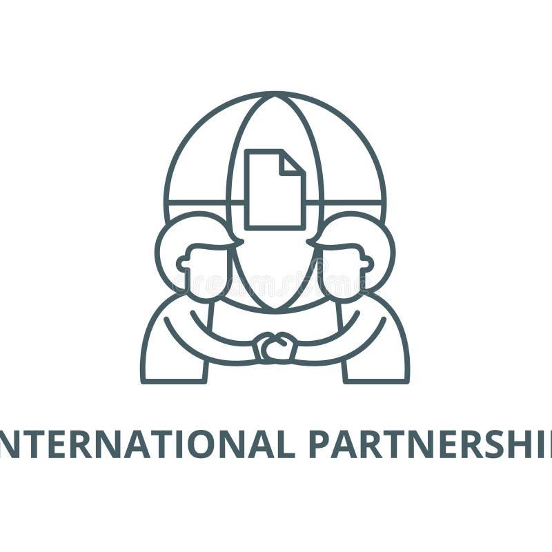 Internationell partnerskapvektorlinje symbol, linjärt begrepp, översiktstecken, symbol royaltyfri illustrationer