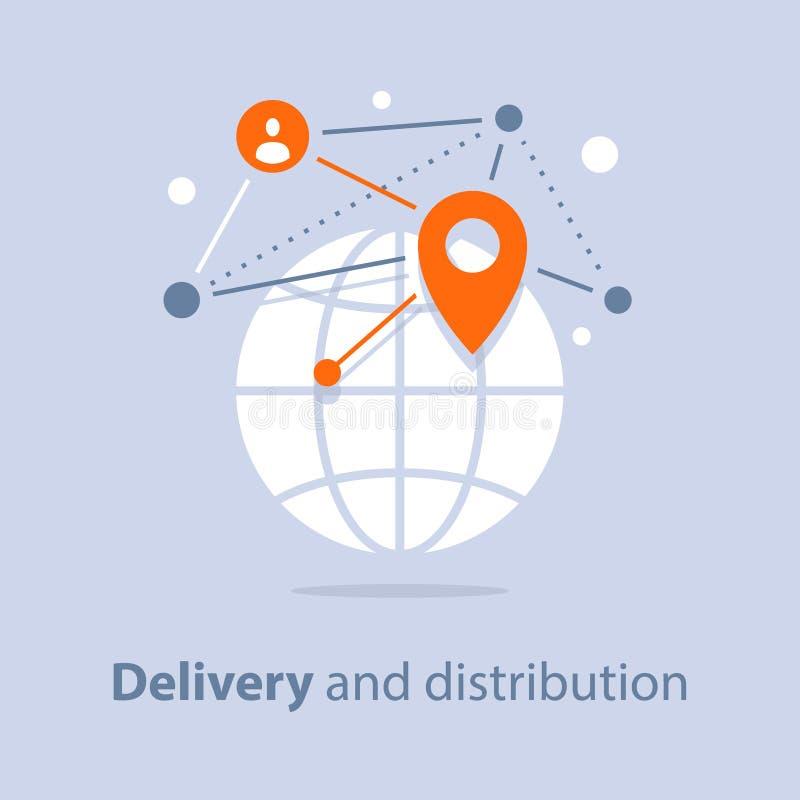 Internationell sändning, global leverans och fördelning, loppordningar vektor illustrationer