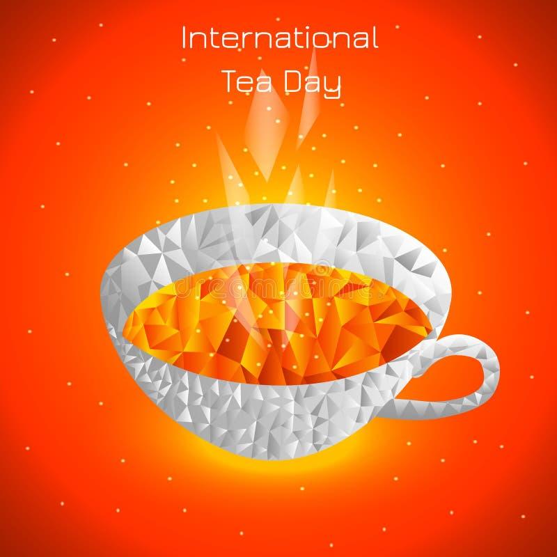 Internationell tedag Jordbruks- feriebegrepp En kopp te, ånga Polygonal stil Ljus positiv vektorillustration royaltyfri illustrationer