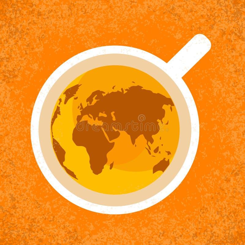 Internationell tedag Jordbruks- feriebegrepp Kupa av tea, bästa beskådar Kontinentkonturer Kan användas som en vykort stock illustrationer