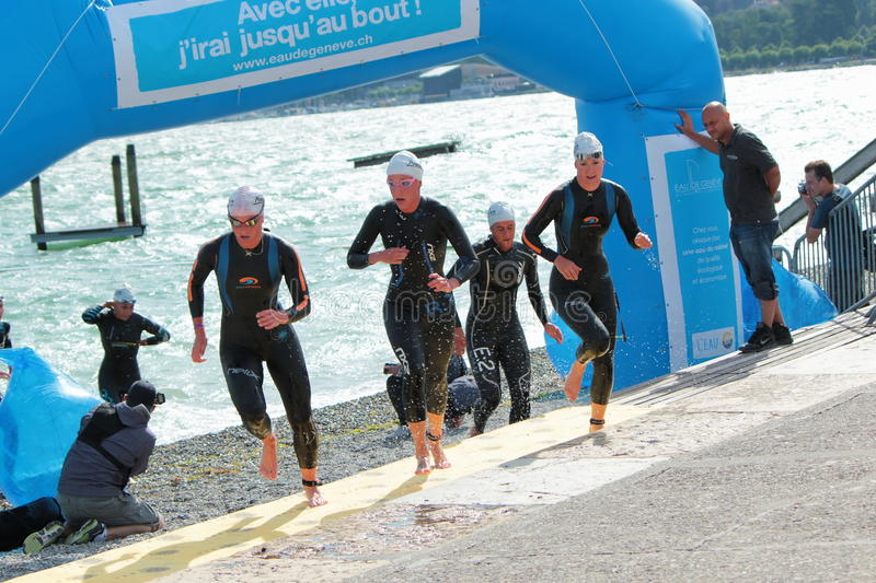 Internationell Triathlon 2012, Geneva, Schweitz royaltyfria foton