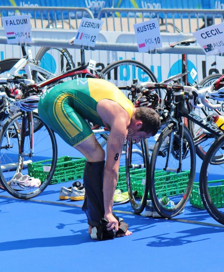 Internationell Triathlon 2012, Geneva, Schweitz arkivfoto