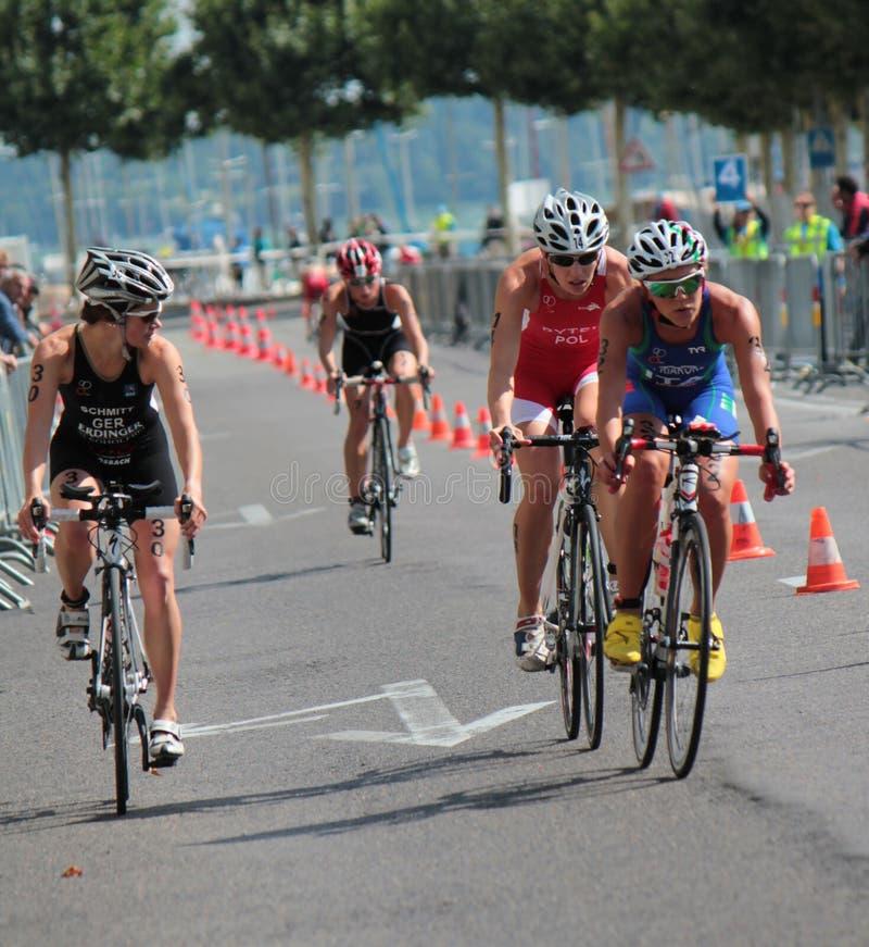 Internationell Triathlon 2012, Geneva, Schweitz arkivbild