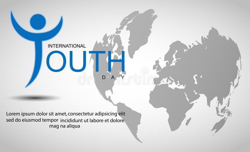 Internationell ungdomdagbakgrund med världskartan royaltyfri illustrationer