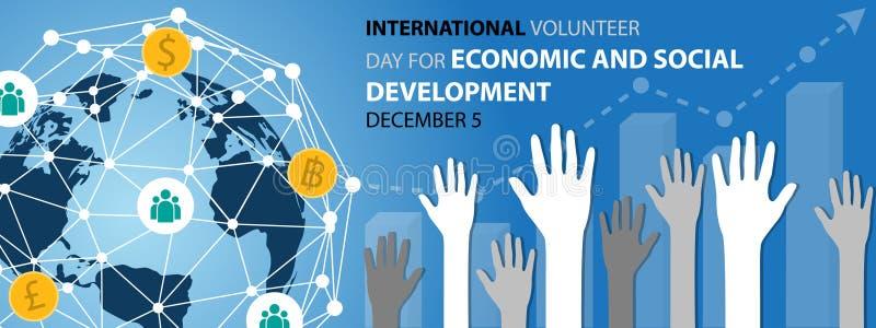 Internationell volontärdag för bakgrund för ekonomisk och social utveckling vektor illustrationer