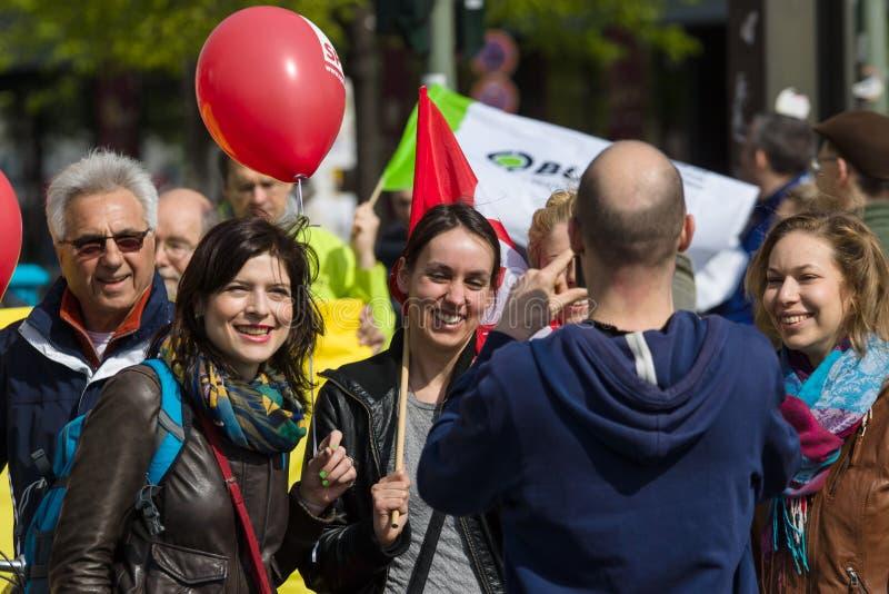 Internationell Workers' Dag 1 Maj 2016, Berlin, Tyskland royaltyfri bild