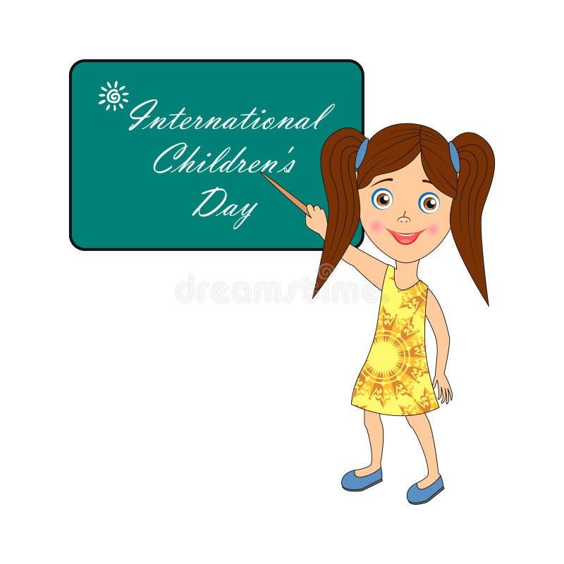 Internationella barns dag - bild med text stock illustrationer