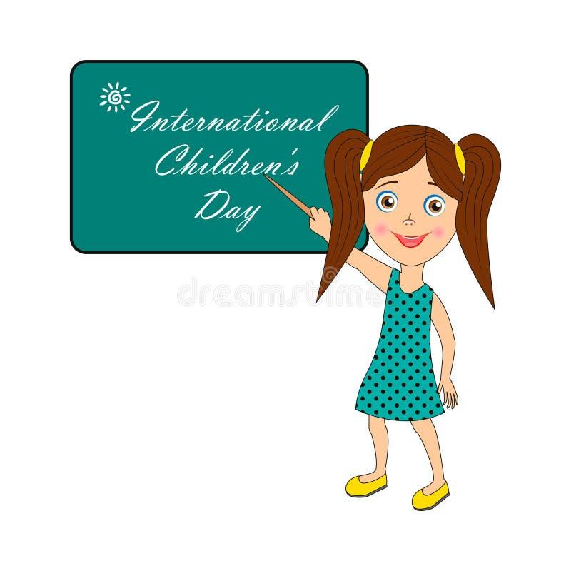 Internationella barns dag - bild med text royaltyfri illustrationer