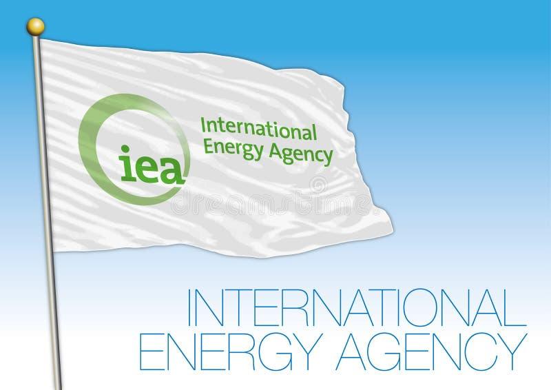 Internationella energirådet IEA-organisationsflagga stock illustrationer