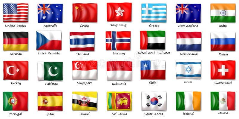 Internationella flaggor stock illustrationer