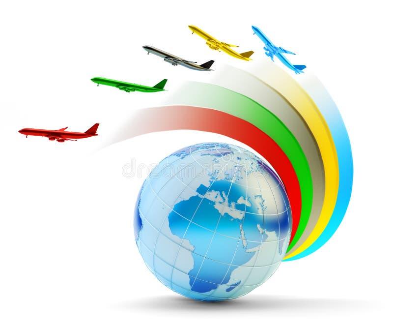 Internationella flygbolag, flygresa och globalt trans.begrepp stock illustrationer