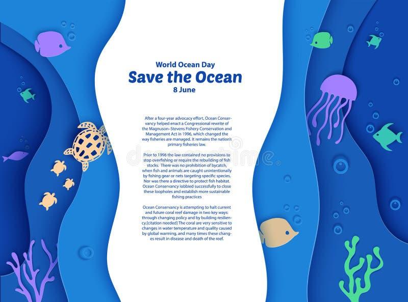 Internationella havsdagen den 8 juni Djup på pappersbåtar under havskusten med fisk, korallrev, havsbotten i alger, vågor Dykning royaltyfri illustrationer